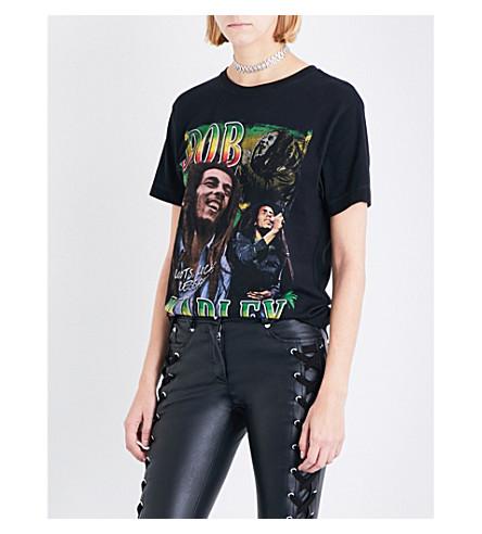 TRIBUTE COLLECTION Bob Marley-print boyfriend-fit cotton-jersey T-shirt (Black