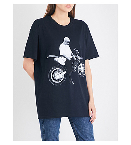 JUSTIN BIEBER Stadium Tour motorcycle cotton-jersey T-shirt (Black+white+red