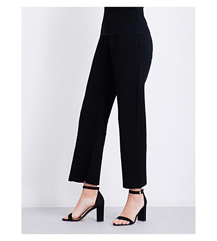 AREA Bobbi straight high-rise stretch-crepe trousers (Black