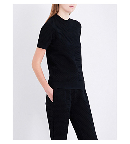 AREA Dinah stretch-crepe T-shirt (Black