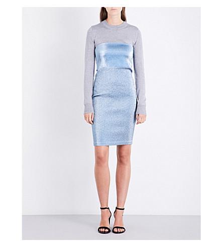 AREA Blix strapless woven mini dress (Baby+blue