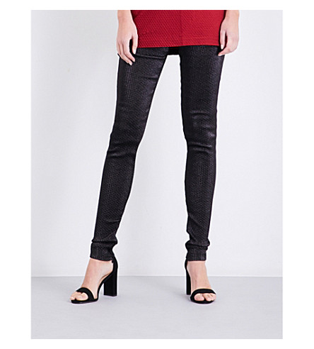 AREA Brigetta skinny high-rise metallic leggings (Black