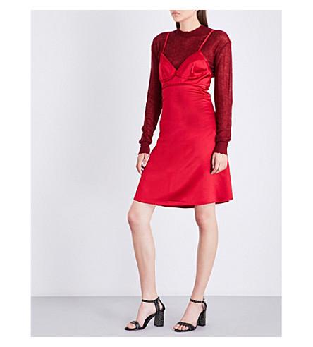 AREA Brianna sleeveless silk-satin dress (Red