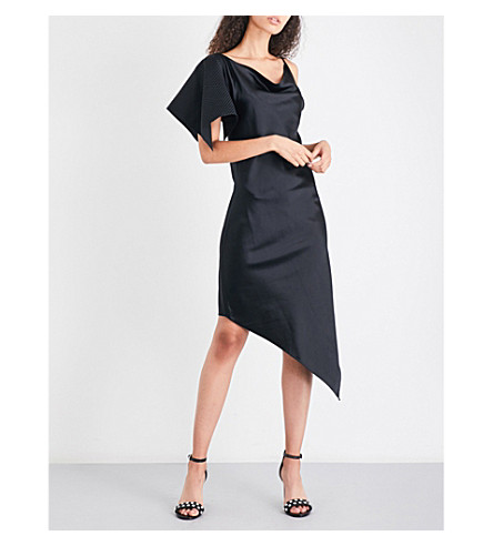 AREA Blade silk-satin dress (Black