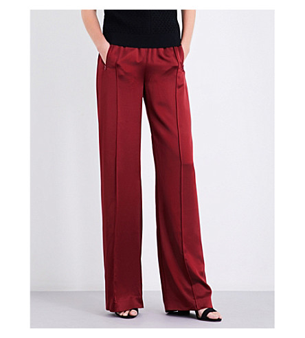 AREA Broox wide high-rise silk-satin jogging bottoms (Bordeaux