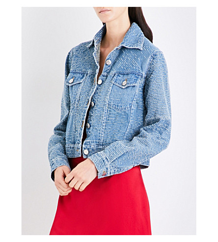 AREA Blake distressed denim jacket (Washed