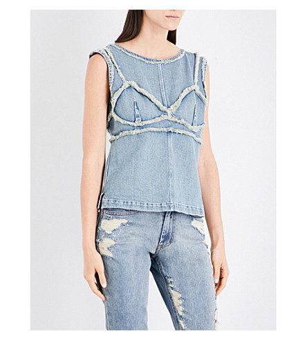 AREA Birch frayed denim top (Washed