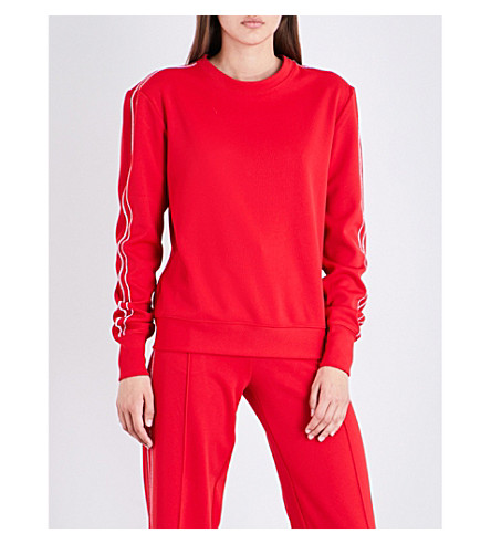 AREA Bell boyfriend-fit jersey sweatshirt (Red