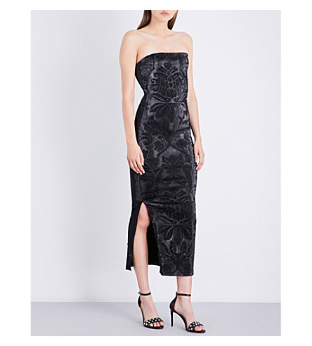AREA Barb strapless stretch-lamé midi dress (Black