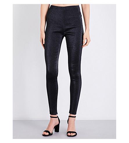 AREA Britney skinny metallic-jacquard trousers (Black