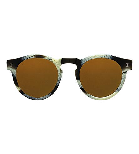 ILLESTEVA Leonard round-frame sunglasses (Horn+with+light+gold