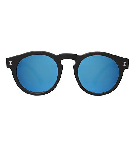 ILLESTEVA Leonard round-frame sunglasses (Matte black with blu