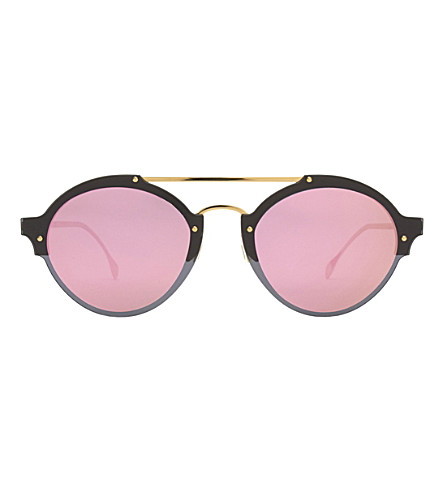ILLESTEVA Malpensa round-frame sunglasses (Matte black/gold wit