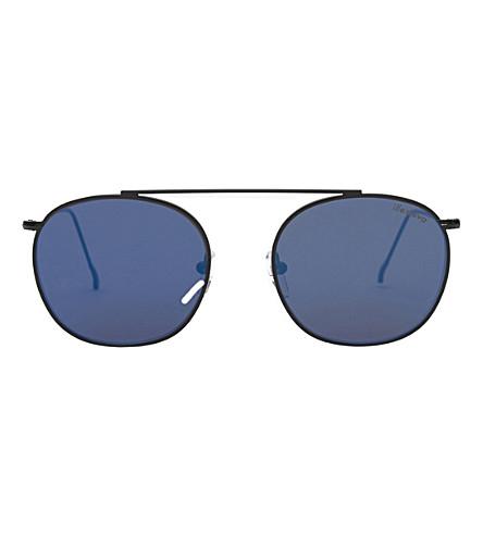 ILLESTEVA Mykonos aviator sunglasses (Black+with+blue+flat