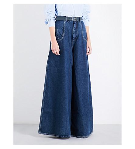MARTINE ROSE Wide Rave high-rise jeans (Indigo+wash