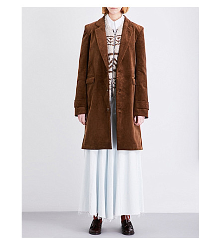 MARTINE ROSE Tailored corduroy coat (Brown