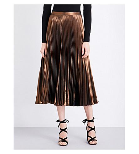 A.L.C Bobby pleated metallic midi skirt (Copper