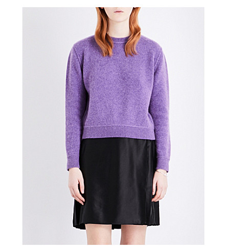 THE ELDER STATESMAN Cropped cahsmere jumper (Amethyst