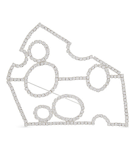 ART SCHOOL Diamanté cheese brooch (Multi