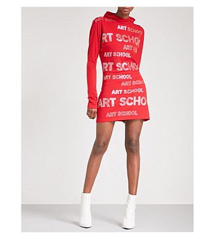ART SCHOOL Hooded rhinestone-embellished cotton-jersey dress (Red+jersey