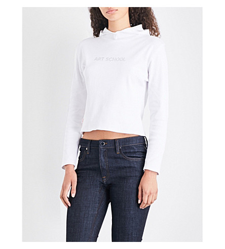 ART SCHOOL Logo-embellished cropped cotton-jersey hoody (White
