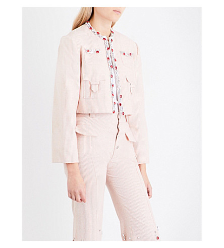 ART SCHOOL Tailored Swarovski crystal-embellished pinstriped cotton jacket (Red+stripe+linen