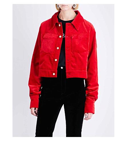 ART SCHOOL Pointed collar velvet jacket (Red+cotton+velvet