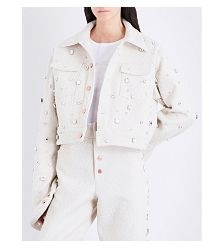 ART SCHOOL Crystal-embellished wool jacket (Cream+boucle+wool
