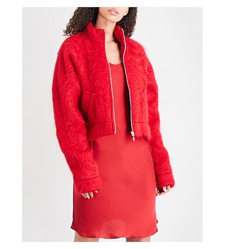 ART SCHOOL Stand-collar mohair jacket (Red+mohair