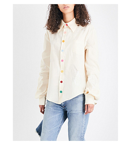 ART SCHOOL Crystal-embellished linen shirt (Cream+linen