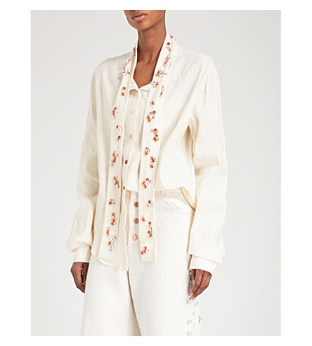 ART SCHOOL Edwardiana Swarovski crystal-embellished raw-cotton shirt (Cream+linen