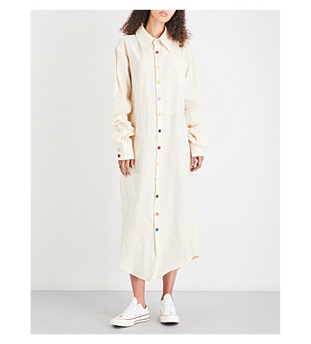 ART SCHOOL Crystal-embellished linen shirt dress (Cream+linen
