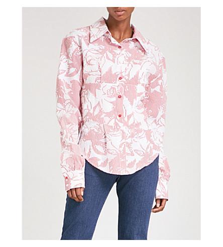 ART SCHOOL Lace-up cotton-seersucker shirt (Rose+print+shirting
