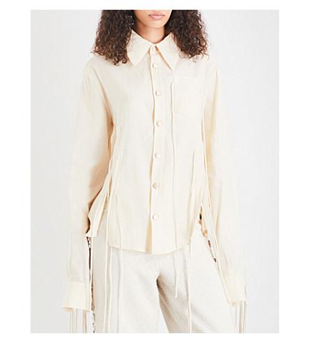 ART SCHOOL Lace-up linen shirt (Cream+linen