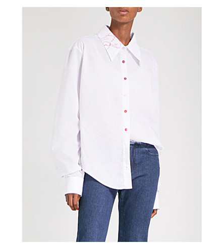ART SCHOOL Koi-print oversized cotton-poplin shirt (White+shirting