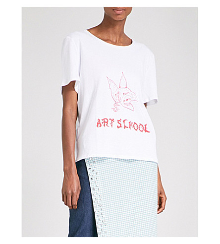 ART SCHOOL Logo-print cotton-jersey T-shirt (White+shirting