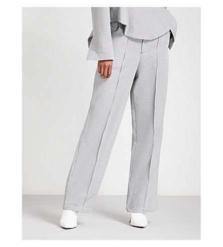 ART SCHOOL Little Man wide-leg dogtooth-wool trousers (Dog+tooth+suiting