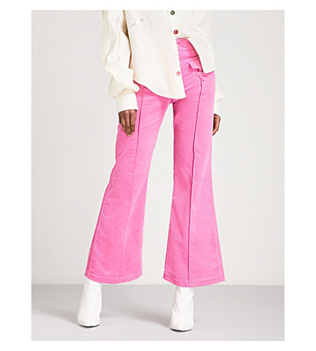 ART SCHOOL Victoriana flared corduroy trousers (Pink+corduroy