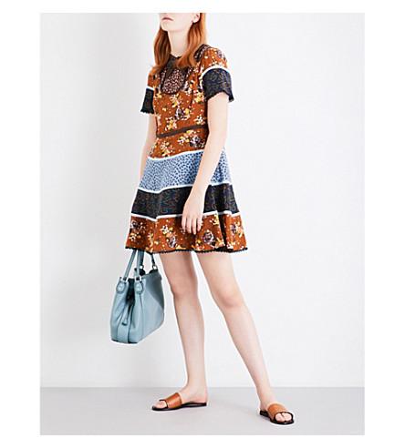 COACH Mixed-print silk dress (Teak+multi