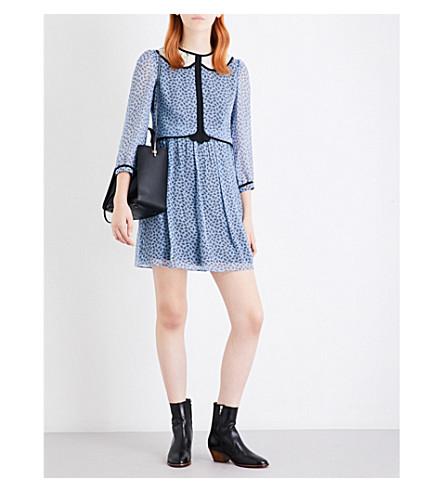 COACH Mini-print silk babydoll dress (Blue+multi