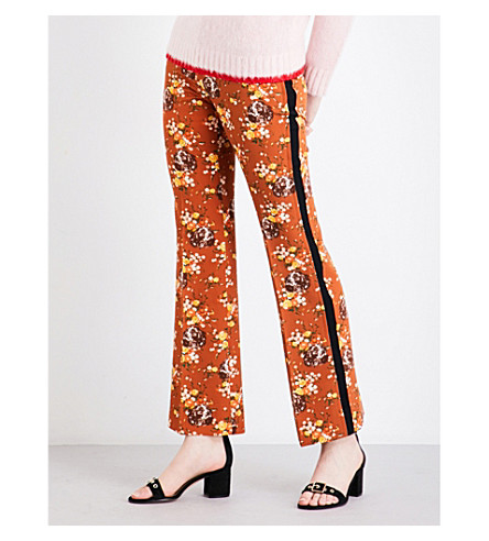 COACH Prairie tapered cropped trousers (Teak+multi