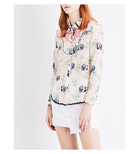 COACH Western silk shirt (Pale+pink+multi