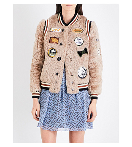 COACH Patch appliqué shearling varsity jacket (Beige