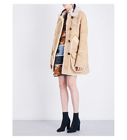 COACH Drifter floral-embroidered shearling coat (Tan