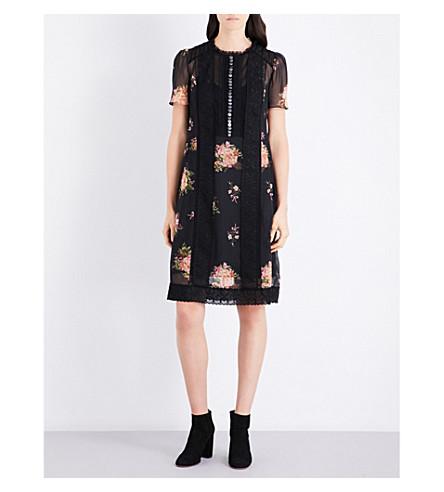 COACH Floral chiffon dress (Black+multi