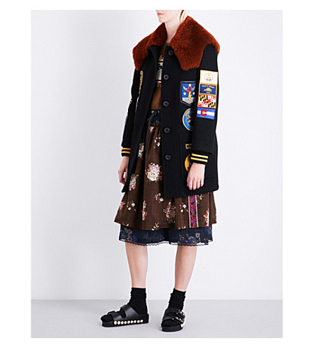 COACH Military Patch Worker wool-blend coat (Black