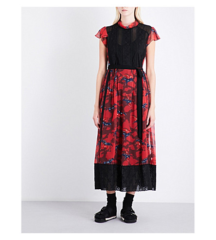 COACH Horse Print Lacework chiffon maxi dress (Dark+red