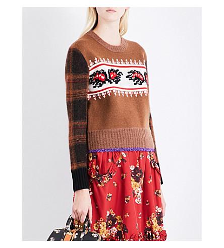 COACH Leaf Plaid wool-blend jumper (Saddle