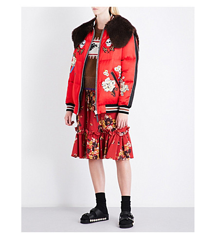 COACH Wolf Embroidered satin puffer jacket (Scarlet