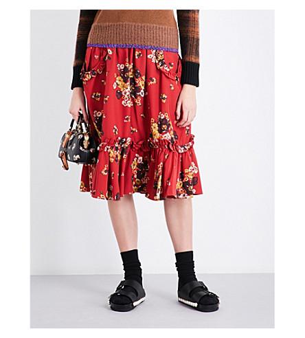 COACH Daisy Bouquet Ruffled woven midi skirt (Burgandy